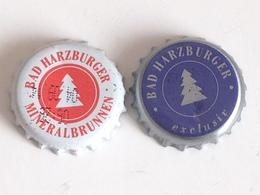 Lote 2 Chapas Kronkorken Caps Tappi Agua Mineral Bad Harzburguer. Alemania - Chapas Y Tapas