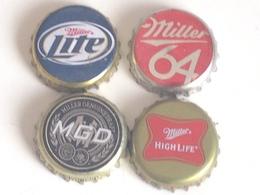 Lote 4 Chapas Kronkorken Caps Tappi Cerveza Miller. Estados Unidos De América - Bier