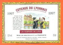 étiquette Vin Coteaux Du Lyonnais La Cenpote De Lyon 1997 à Sain Bel - 50cl - Guignol - Rouges