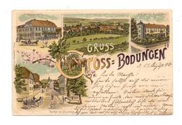 0-5601 AM OHMBERG - GROSSBODUNGEN / Eichsfeld, Lithographie 1898, Gasthaus Zum Adler, Geschäftshaus Bünsch, Oberthor - Heiligenstadt