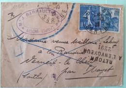 19818# LETTRE RECOMMANDE REFUSE DE SIGNER Obl AUBIGNE SARTHE 1929 Pour MAYET + RETOUR A L' ENVOYEUR 2291 - Storia Postale