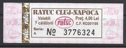 Romania, Cluj, Single Ticket, 2018. - Bus