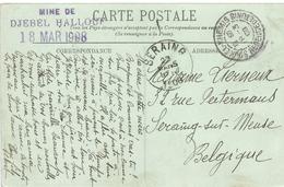 Tunesie Tunisia 1908 Souk El-Khemis Lead Zinc Pb Zn Mine De Djebel Hallouf Minerals Viewcard - Tunesië (1888-1955)