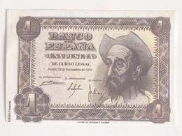 Billete 1 Peseta. 1951. Estado Español. Facsimil. Cervantes, El Quijote. Sin Circular - [ 3] 1936-1975 : Regime Di Franco
