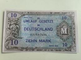 Billete Ocupación De Alemania De EE.UU. 2 Guerra Mundial. 10 Marcos. 1944. Réplica De Fabricación Actual. Sin Circular. - 10 Mark