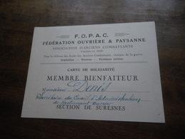 Carte De Membre F.O.P.A.C. Section De SURESNES Association D'anciens Combattants - M. Denis - Cartes
