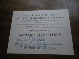 Carte De Membre F.O.P.A.C. Section De SURESNES Association D'anciens Combattants - M. Goblot - Cartes