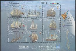 URUGUAY, 2018, MNH, SHIPS, SAILING SHIPS,  SHEETLET OF 9v - Ships