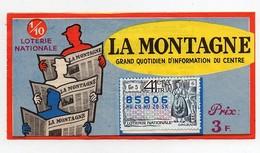 Billet De Loterie Nationale La Montagne Grand Quotidien D'information Du Centre Timbre 1965 Orléans - Billets De Loterie