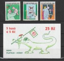 MiNr. 231 - 233 + MH 77 Tschechische Republik / 1999, 20. Okt. Gezeichneter Humor. - Tschechische Republik