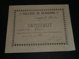 Lot 3 Documents Anciens 1896 SATISFECIT, Collège De BERGERAC 24, Bon Point, Bons Points - Diplômes & Bulletins Scolaires