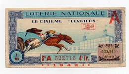 Billet De Loterie Nationale Lévriers Timbre 1942 - Billets De Loterie