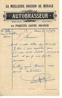 Facture 1/2 Format 1963 / 62 ARRAS / AUTOBRASSEUR Boisson De Ménage / Propriétés Au Dos - Francia