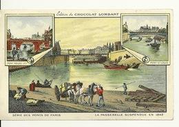 EDITION Du CHOCOLAT LOMBART / SERIE DES PONTS DE PARIS - LA PASSERELLE SUSPENDUE EN 1842 - Histoire