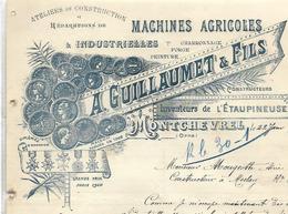 Facture Lettre 1907 / 61 MONTCHEVREL / A. GUILLAUMET & Fils / Machines Agricoles, Forge, Charronnage - France