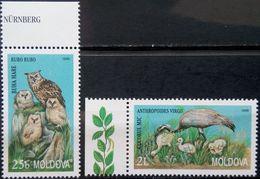 Moldova, 1998, Mi. 295-96, Sc. 291-92, SG 302-03, Birds, Owl, Crane, MNH - Aquile & Rapaci Diurni
