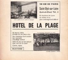 1957 - Iconographie - Saint-Dyé-sur-Loire (Loir-et-Cher) - L'hôtel De La Plage - FRANCO DE PORT - Vieux Papiers