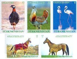 Turkmenistan 2016, Definitives, Fauna, Birds, Horses, 5v - Turkmenistán