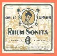 étiquette Ancienne De Rhum Qualité Supérieure Sonita Ets Simon à Biesles - 100 Cl - Galion - Rhum