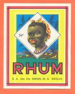 étiquette Ancienne Glaçée De Rhum Ets Simon à Biesles - Rhum
