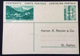 """Schweiz Suisse Um 1930: Bild-PK """"THUSIS"""" Adressiert Nach St.Gallen Aber Ungelaufen - Non-circulé - Interi Postali"""
