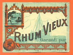 étiquette Ancienne De Rhum Vieux Garanti Pur - Bateau - Rhum