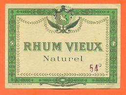étiquette Ancienne De Rhum Vieux Naturel - 54° - Rhum
