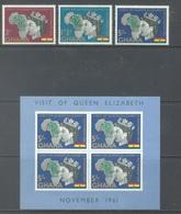 GHANA - 1961 - MNH/** - ROYAL VISIT ELIZABETH II - Yv BLOC 6 99/101 - Lot 17895 - Ghana (1957-...)
