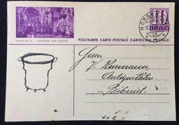 """Schweiz Suisse 1934: Bild-PK / CPI """"EINSIEDELN - INNERES DER KIRCHE """" Mit Stempel RORSCHACH 12.XII.36 Nach Biberist - Interi Postali"""