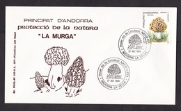 Andorra: FDC First Day Cover, 1984, 1 Stamp, Mushroom, Fungus (traces Of Use) - Frans-Andorra