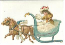 DECOUPIS ANCIEN / CHOCOLAT POULAIN - LE TRAINEAU - HAUTEUR 9cm - Animaux