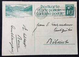 """Schweiz Suisse 1928: Bild-PK / CPI """"Kurlandschaft Am Oberen WALLENSEE"""" Mit Stempel BERN 19.III.1928 Nach Biberist - Interi Postali"""