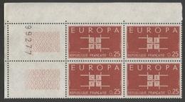 FRANCE 1963  N°YT 1396 **  EUROPA  /  Bloc De 4 Coin Avec N° De Feuille 99277  MNH - Frankrijk