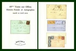 Catalogue 49éme Vente Sur Offres Roumet 2016 Histoire Postale Et Autographes - Catalogues For Auction Houses