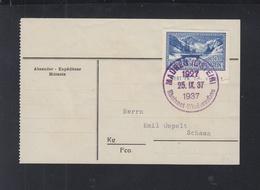 Liechtenstein Adress-Zetter Sonderstempel Mauren Rheinnot 1937 - Briefe U. Dokumente
