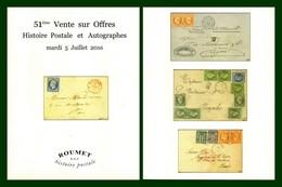 Catalogue 51éme Vente Sur Offres Roumet 2016 Histoire Postale Et Autographes - Catalogues For Auction Houses