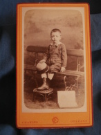 Photo CDV  Charles à Orleans  Jeune Garçon Assis Sur Un Banc  Chapeau Rond Et Livre - CA 1875-80 - L400A - Photos