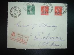 DEVANT LR TP SEMEUSE 1f05 Surch. 90c X2 + SEMEUSE 10c OBL.7-6 28 CHALONS SUR MARNE MARNE (51) - Postmark Collection (Covers)