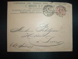 LETTRE TP MOUCHON 15 OBL.16-1 02 EPERNAY MARNE (51) COMPAGNIE DES GRANDS VINS DE CHAMPAGNE E. MERCIER & Co - Postmark Collection (Covers)
