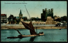 Ref 1231 - 1916 Postcard - Rochester Castle Kent - Sent From Chatham Military Barracks - Rochester