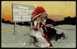 "Ref 1231 - Comic Romance Postcard - ""When Knights Were Bold"" - Comics"