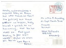 Ref 1231 - Huelva Postcard - Malta Post & T.N.T. Spain To Solihull UK - Malta