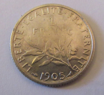 France - Monnaie 1 Franc Semeuse 1905 - H. 1 Franc