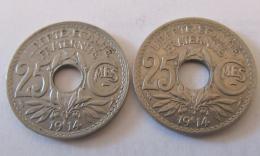 France - 2 Monnaies 25 Centimes Lindauer 1914 - F. 25 Centimes