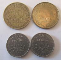 France - Lot De 4 Monnaies : 2 X 20 Centimes Lagriffoul 1962 Et 2 X 1/2 Franc Semeuse 1965 Caractères Fins - Autres