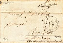 200/27 - Précurseur BREMEN Via FRANKFURT 1809 Vers RINHEIM - Marque D' Entrée ALLEMAGNE Par STRASBOURG - Port 7 Décimes - Entry Postmarks