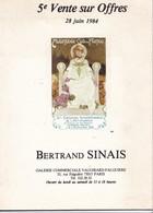 5 E  VENTE SUR  OFFRES  28  Juin  1984 ,,,,  BERTRAND  SINAIS   PARIS,,,,35  PAGES ,,,,TBE - Livres