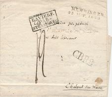 204/27 - Précurseur De MEMMINGEN 1822 Vers CHALONS - Marque D' Entrée BAVIERE Par STRASBOURG - Port 12 Décimes - Marques D'entrées