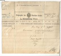 ALEMANIA STRASSBURG ELSASS ALSACE TELEGRAMA - Sin Clasificación