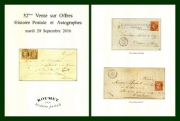 Catalogue 52éme Vente Sur Offres Roumet 2016 Histoire Postale Et Autographes - Catalogues For Auction Houses